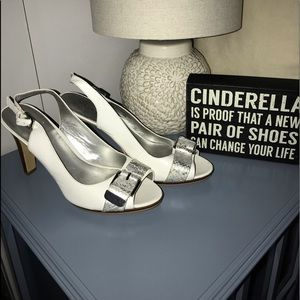 Bandolino Shoes - Bandolino white heels with silver buckle 9.5